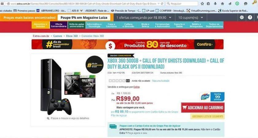 Comprou o Xbox 360 no Extra por R$ 99,00?