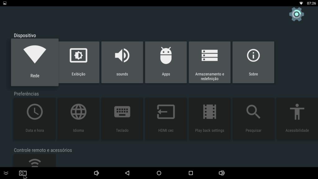 Menu de configurações do MXQ Pro